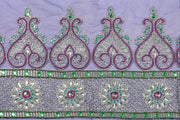 Hand Embroidered Blouse Design # 3236 - Royal Blue - 1.7 Yards