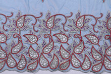 Load image into Gallery viewer, Hand Embroidered Blouse Design # 3222 - Royal Blue - 1.7 Yards