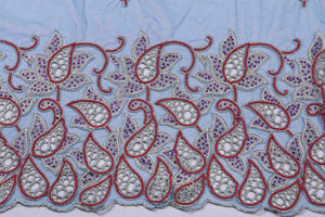 Hand Embroidered Blouse Design # 3222 - Royal Blue - 1.7 Yards