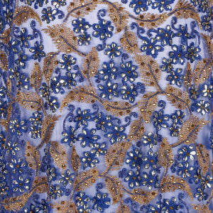 Hand Embroidered Fabric Design # 4175 - Royal Blue - 5 Yard Piece