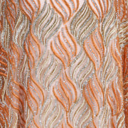 Hand Embroidered Fabric Design # 4114 - Peach - Per Yard