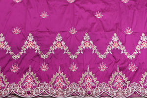 Machine Embroidered George Wrapper Design # 7435 - Magenta- With Blouse