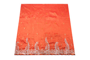 Machine Embroidered George Wrapper Design # 7089 - Burnt Orange   - With Blouse