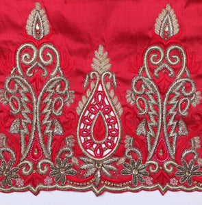 Hand Embroidered George Wrapper Design # 9413 - Red - With Blouse