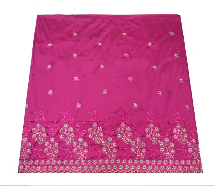 Machine Embroidered George Wrapper Design # 7043 - Fuchsia Pink - Without Blouse