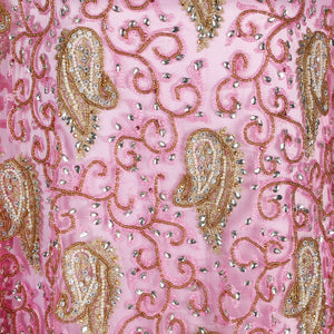 Hand Embroidered Fabric Design # 4108 - Baby Pink - 5 Yard Piece