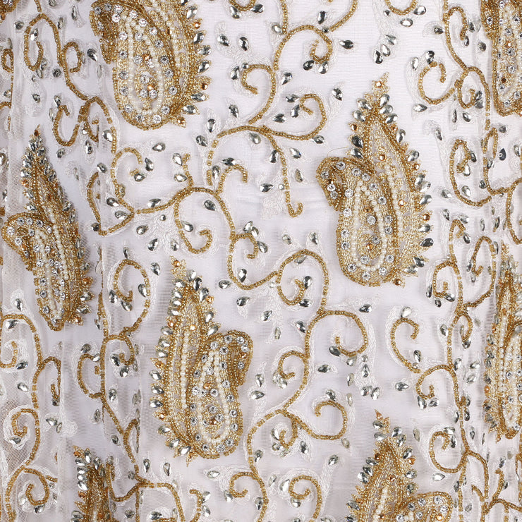 Hand Embroidered Fabric Design # 4108 - Cream - 5 Yard Piece