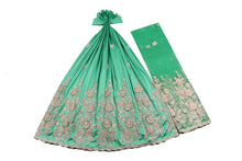 Load image into Gallery viewer, Hand Stoned George Wrapper Design # 6719 - Aqua Green - With Blouse
