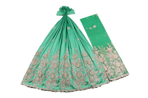 Hand Stoned George Wrapper Design # 6719 - Aqua Green - With Blouse