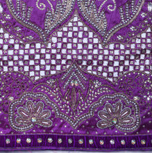 Load image into Gallery viewer, Hand Embroidered George Wrapper Design # 9427 - Purple - Without Blouse