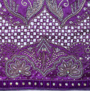 Hand Embroidered George Wrapper Design # 9427 - Purple - Without Blouse