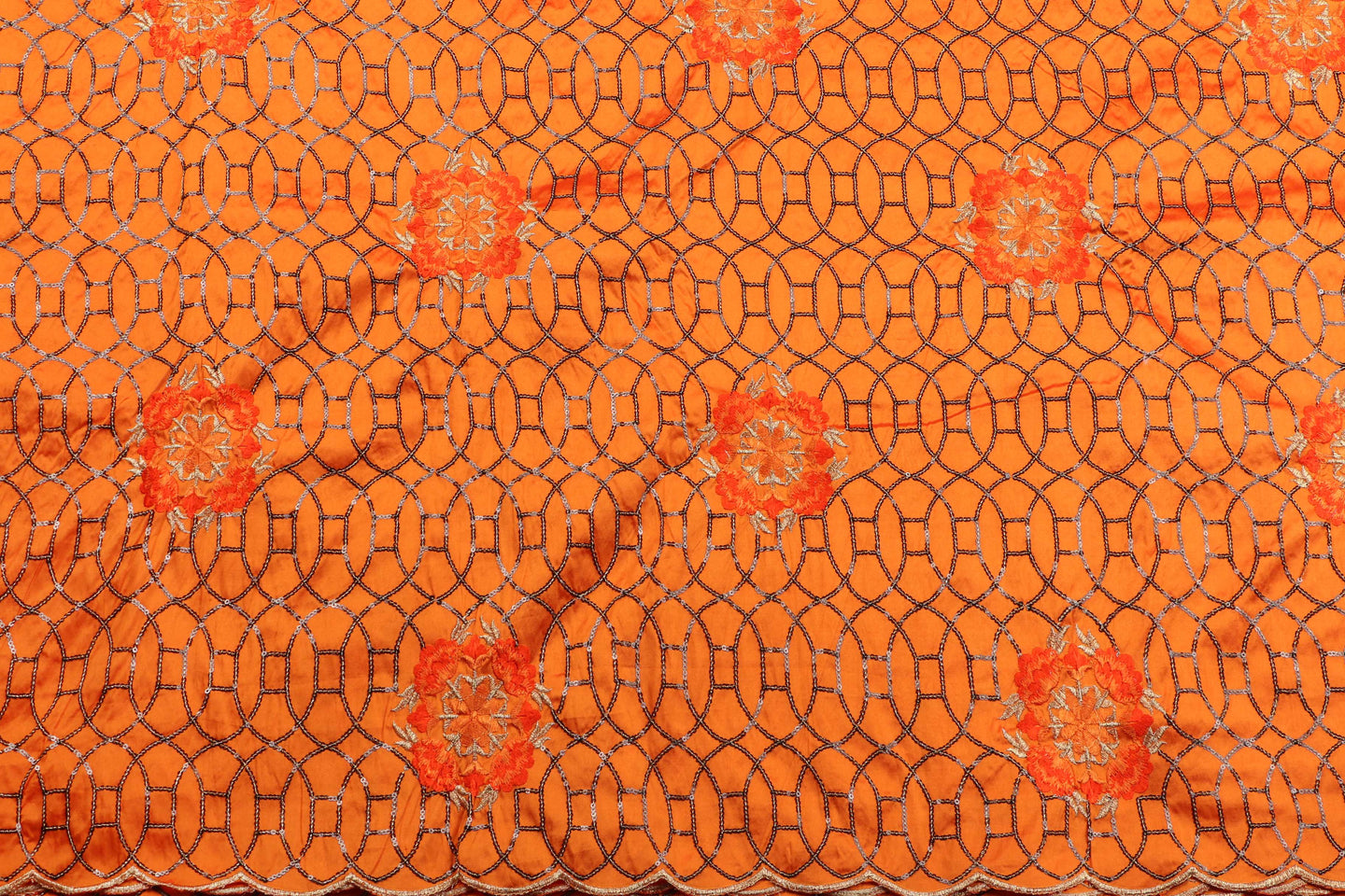 Machine Embroidered George  Wrapper Design # 7434 - Burnt Orange - With Blouse