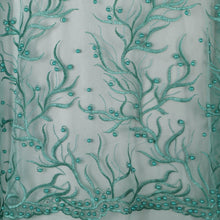Load image into Gallery viewer, Machine Embroidered Fabric Design # 4030- Sky Blue- With Pearls - 5 Yard Piece