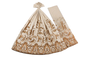 Hand Embroidered George Wrapper Design # 9617 - Cream - With Blouse