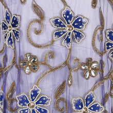 Load image into Gallery viewer, Hand Embroidered Fabric Design # 4101 - Royal Blue - Per Yard