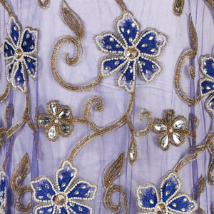 Hand Embroidered Fabric Design # 4101 - Royal Blue - Per Yard