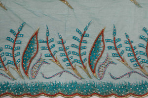 Hand Embroidered Blouse Design # 3323 - Teal Green - 1.7 Yards