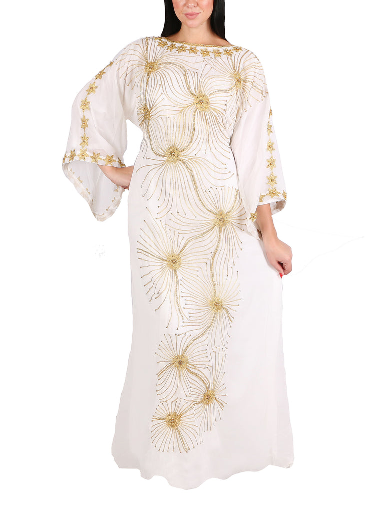 Kaftan Design # 7204 - Cream - Free Size