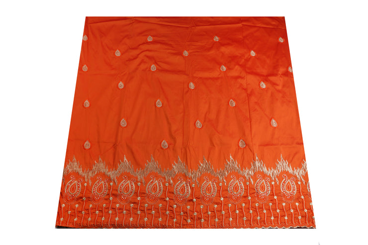 Machine Embroidered George Wrapper Design # 7060 - Dark Orange - Without Blouse