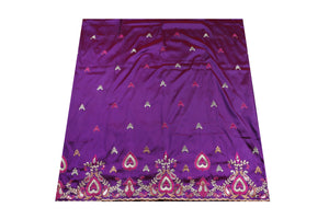 Machine Embroidered George Wrapper Design # 7047 - Purple - Without Blouse