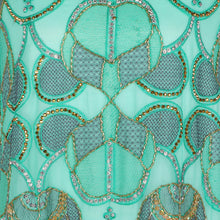 Load image into Gallery viewer, Hand Embroidered Fabric Design # 4180 - Aqua Green - Per Yard