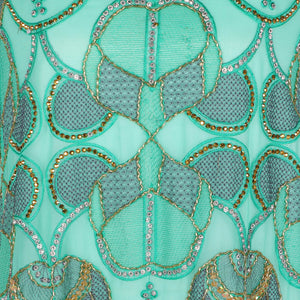 Hand Embroidered Fabric Design # 4180 - Aqua Green - Per Yard