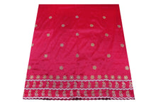Load image into Gallery viewer, Machine Embroidered George Wrapper Design # 7070 - Fuchsia Pink  - With Blouse