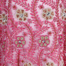 Load image into Gallery viewer, Hand Embroidered Fabric Design # 4054 - Baby Pink - Per Yard
