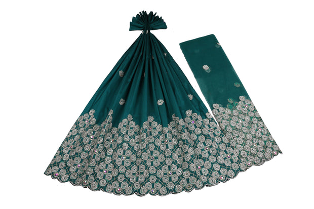 Hand Stoned George Wrapper Design # 6690 - Teal Green - With Blouse