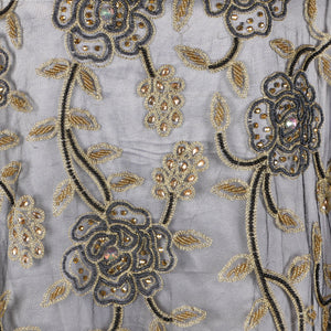 Hand Embroidered Fabric Design # 4149 - Black - 5 Yard Piece