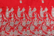 Load image into Gallery viewer, Hand Stoned George Wrapper Design # 6668 - Red - With Blouse