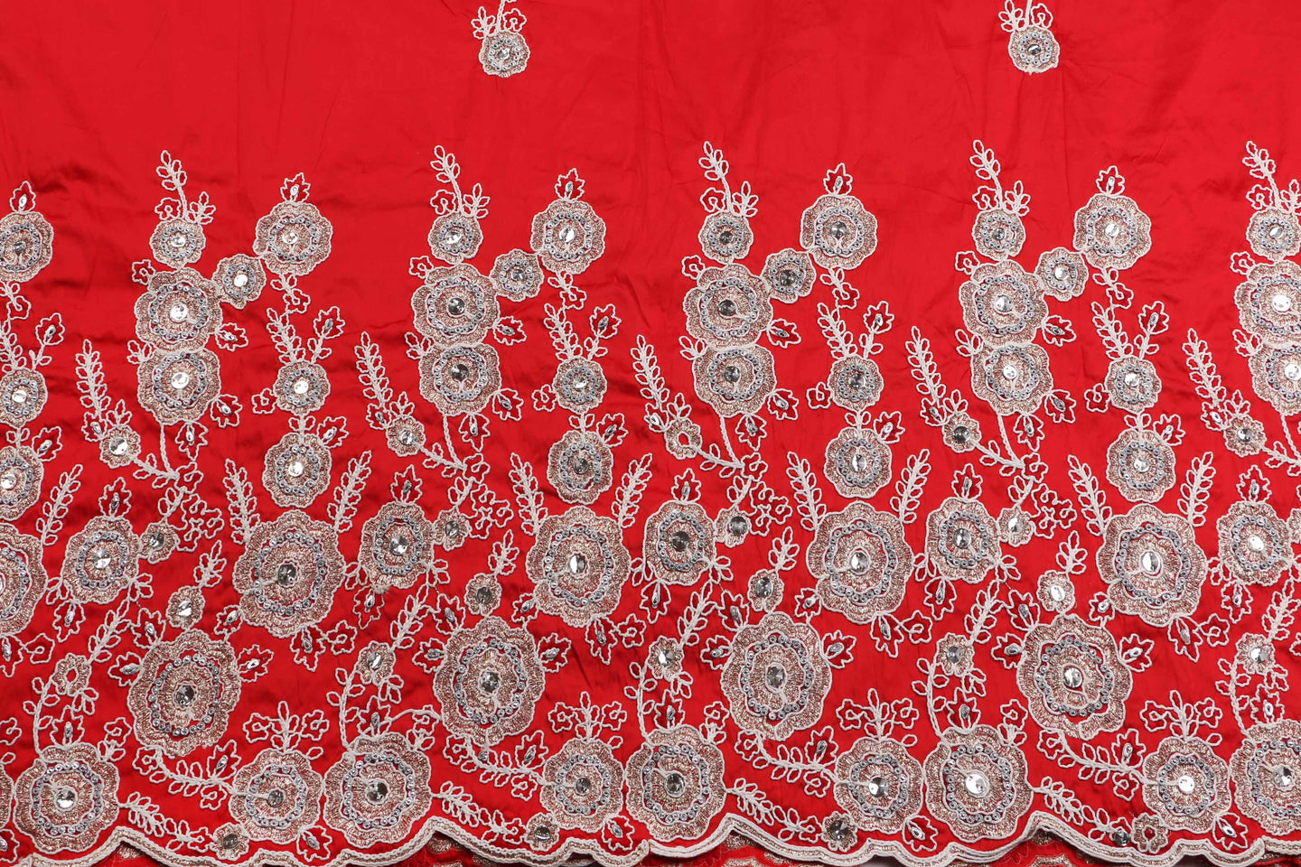 Hand Stoned George Wrapper Design # 6668 - Red - With Blouse