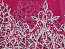 Load image into Gallery viewer, Hand Embroidered George Wrapper Design # 9419 - Fuchsia Pink - With Blouse