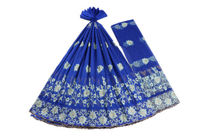 Machine Embroidered George Wrapper Design # 7444 - Royal Blue - With Blouse