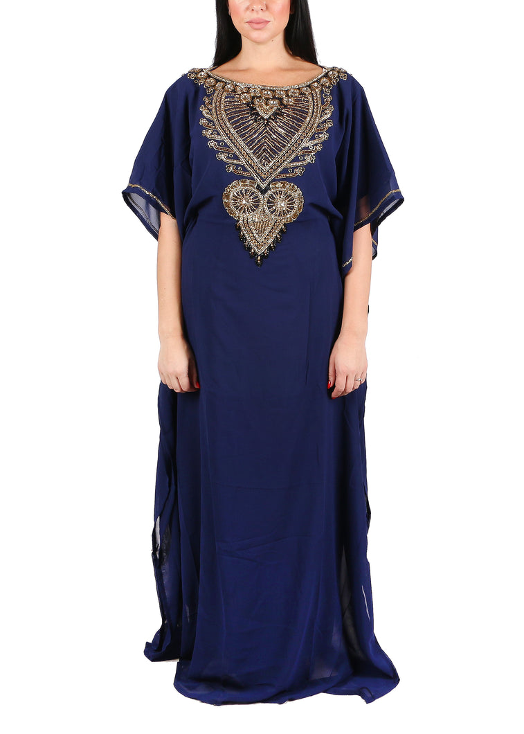 Kaftan Design # 7207 - Navy Blue - Free Size