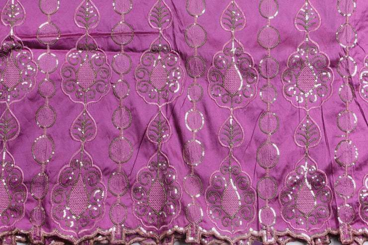 Machine Embroidered George Wrapper Design # 7091 - Lilac - Without Blouse