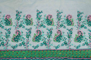 Hand Embroidered Blouse Design # 3324 - Teal Green - 1.7 Yards
