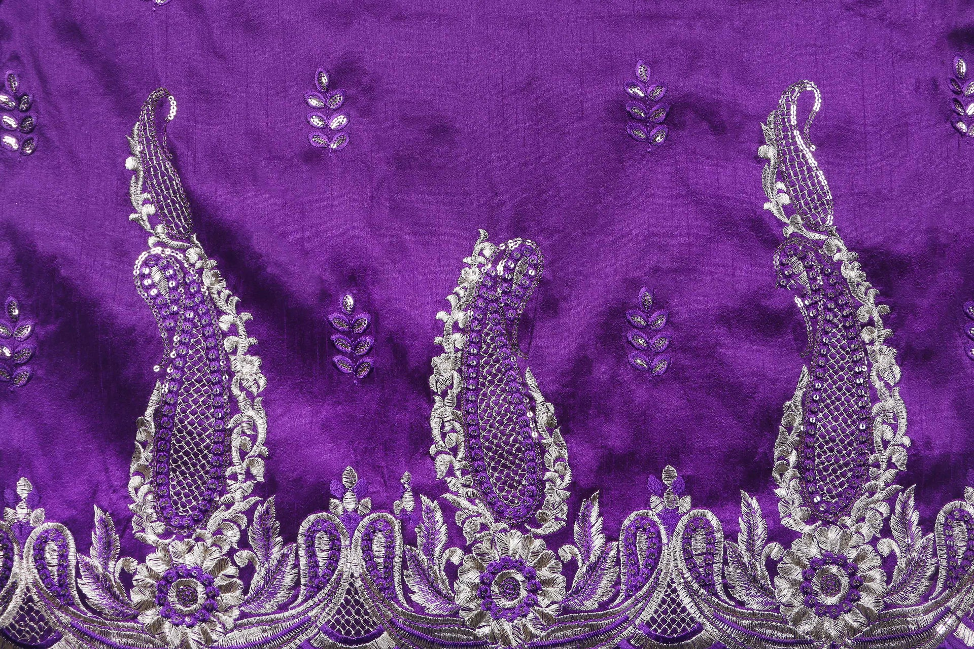 Machine Embroidered George Wrapper Design # 7089 - Purple  - Without Blouse