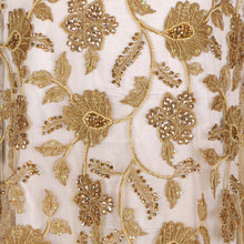 Load image into Gallery viewer, Hand Embroidered Fabric Design # 4176 - Champagne Gold - Per Yard