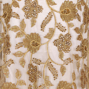 Hand Embroidered Fabric Design # 4176 - Champagne Gold - Per Yard