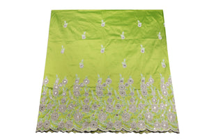 Hand Stoned George Wrapper Design # 6668 - Lime Green - With Blouse