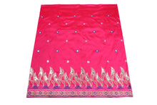 Load image into Gallery viewer, Machine Embroidered George Wrapper Design # 7062 - Fuchsia Pink - Without Blouse