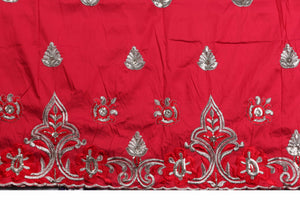 Machine Embroidered George Wrapper Design # 7072 - Red  - With Blouse