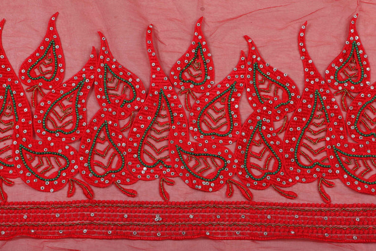 Hand Embroidered Blouse Design # 3294 - Red - 1.7 Yards