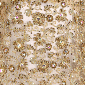 Hand Embroidered Fabric Design # 4147 - Champagne Gold - Per Yard