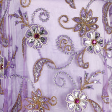 Load image into Gallery viewer, Hand Embroidered Fabric Design # 4094 - Lilac - Per Yard
