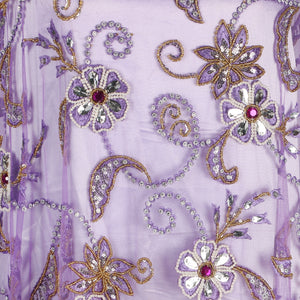 Hand Embroidered Fabric Design # 4094 - Lilac - Per Yard