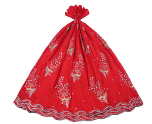 Machine Embroidered George Wrapper Design # 7042 - Red - Without Blouse