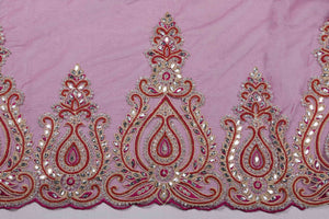 Hand Embroidered Blouse Design # 3247 - Magenta - 1.7 Yards