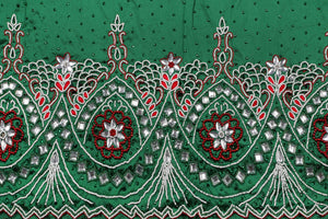 Hand Embroidered George Wrapper Design # 9695 - Pure Green - With Contrast Blouse